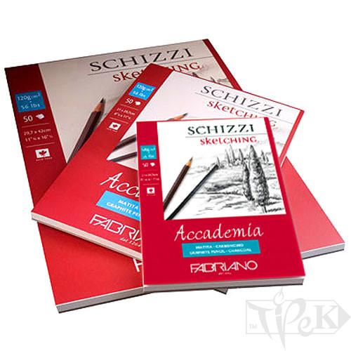 41122129 Альбом для графики склейка Accademia А4 (21х29,7 см) 120 г/м.кв. 50 листов Fabriano Италия