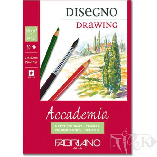 41202129 Альбом для влажных техник склейка Accademia А4 (21х29,7 см) 200 г/м.кв. 30 листов Fabriano Италия