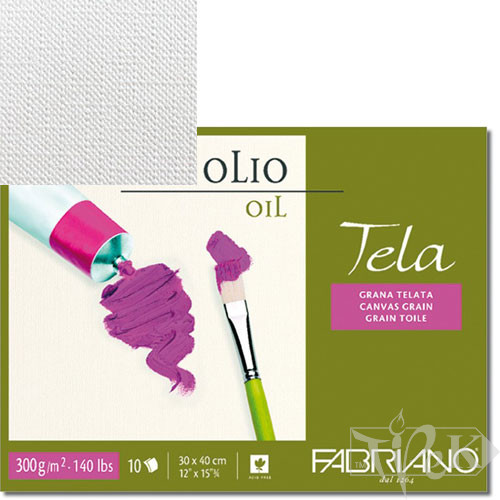 68002432 Альбом для олійного живопису Tela 24х32 см 300 г/м.кв. 10 аркушів Fabriano Італія