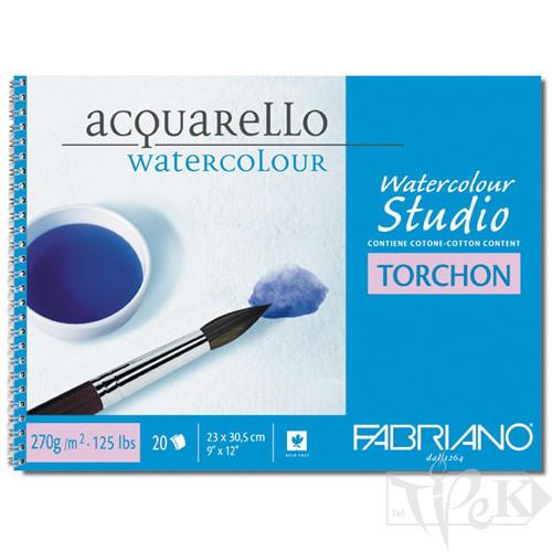 72703241 Альбом для акварелі Watercolour Studio Torchon 32х41 см 270 г/м.кв. 12 аркушів на спіралі Fabriano Італія