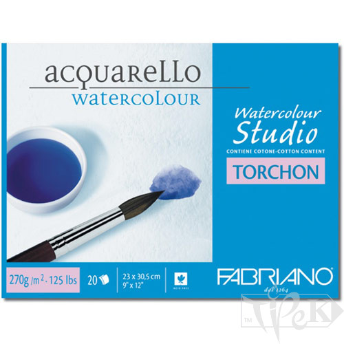 72703551 Альбом для акварелі Watercolour Studio Torchon 35,5х51 см 270 г/м.кв. 20 аркушів склейка з 4 сторін Fabriano Італія