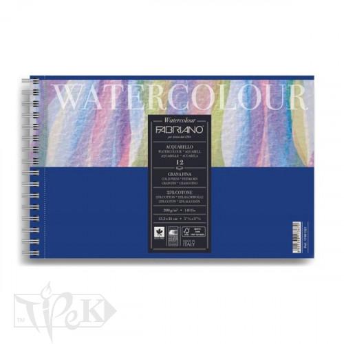 17661321 Альбом для акварелі Watercolour 13,5х21 см 300 г/м.кв. 12 аркушів на спіралі Fabriano Італія
