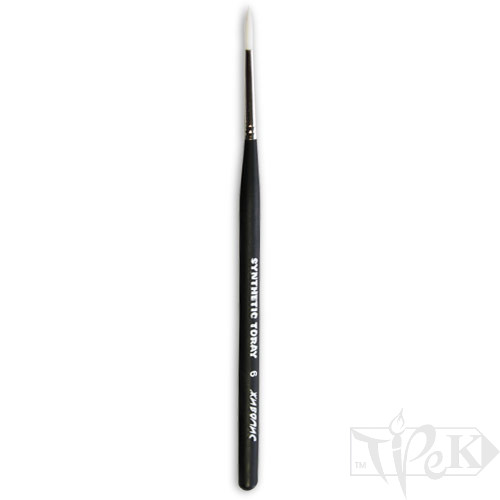 Кисточка Toray «Живопись» 1211 Синтетика круглая № 06 короткая ручка белый ворс