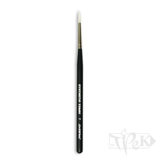 Кисточка Toray «Живопись» 1211 Синтетика круглая № 07 короткая ручка белый ворс