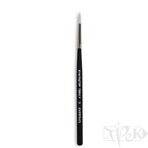 Кисточка Toray «Живопись» 1211 Синтетика круглая № 09 короткая ручка белый ворс