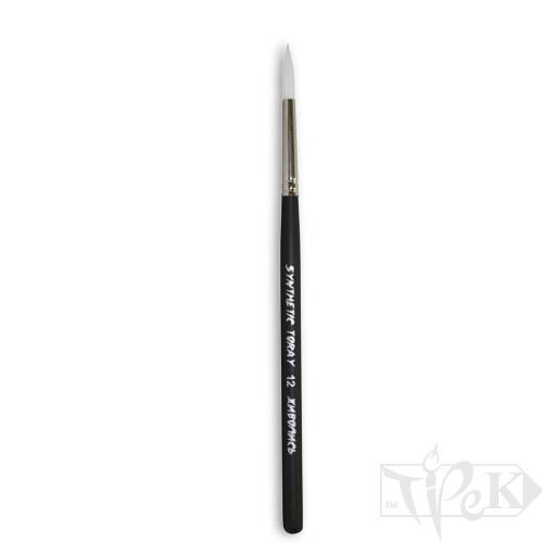Кисточка Toray «Живопись» 1211 Синтетика круглая № 12 короткая ручка белый ворс