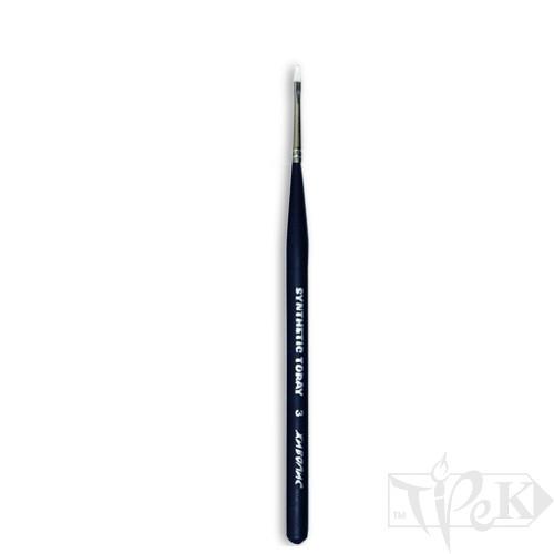 Кисточка Toray «Живопись» 1212 Синтетика плоская № 03 короткая ручка белый ворс