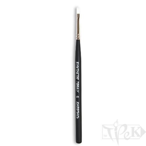 Кисточка Toray «Живопись» 1212 Синтетика плоская № 06 короткая ручка белый ворс