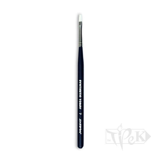 Кисточка Toray «Живопись» 1212 Синтетика плоская № 07 короткая ручка белый ворс