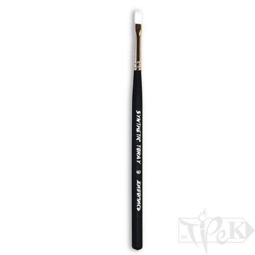 Кисточка Toray «Живопись» 1212 Синтетика плоская № 09 короткая ручка белый ворс