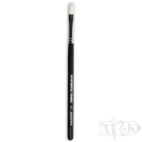 Кисточка Toray «Живопись» 1212 Синтетика плоская № 11 короткая ручка белый ворс