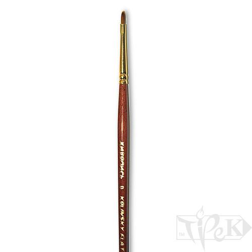 Кисточка «Живопись» 3122 Колонок плоская № 0 короткая ручка рыжий ворс