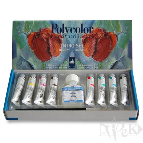 Набір акрилових фарб Polycolor 058 8 кольорів по 20 мл картонна коробка Maimeri Італія