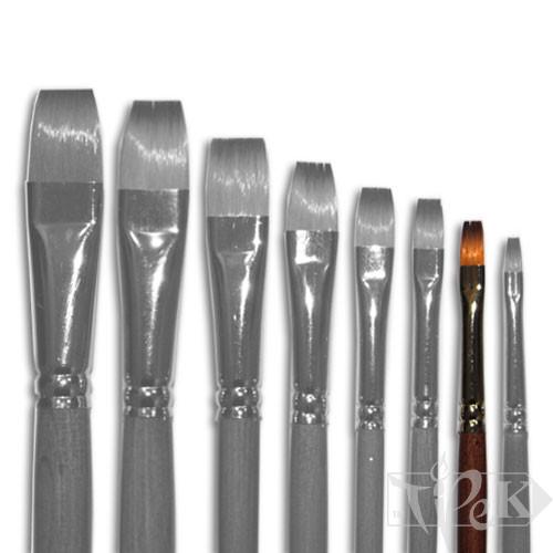 Кисточка «Живопись» 1112 Синтетика плоская № 04 длинная ручка рыжий ворс