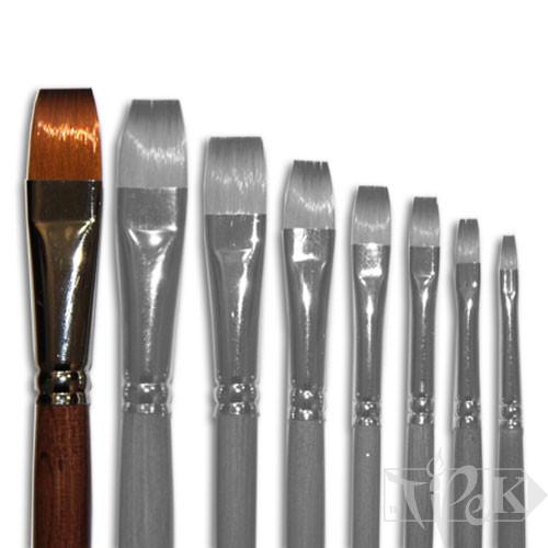 Пензлик «Живопис» 1112 Синтетика плоска № 16 довга ручка рудий ворс