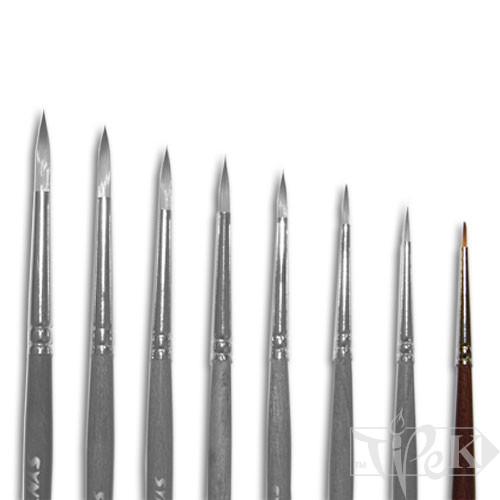 Кисточка «Живопись» 1121 Синтетика круглая № 10/0 короткая ручка рыжий ворс