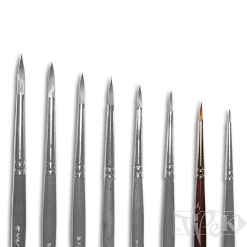 Кисточка «Живопись» 1121 Синтетика круглая № 02/0 короткая ручка рыжий ворс
