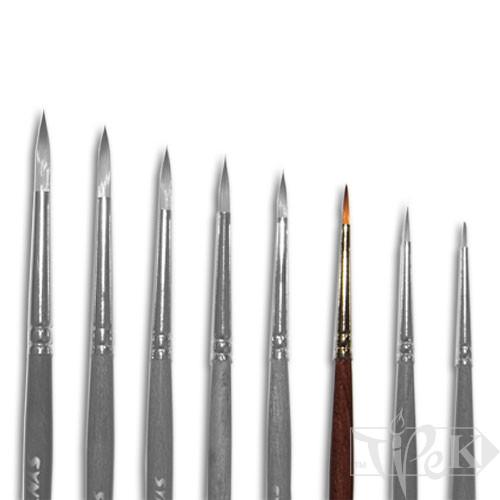 Кисточка «Живопись» 1121 Синтетика круглая № 0 короткая ручка рыжий ворс