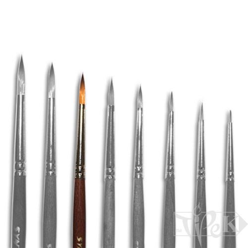 Кисточка «Живопись» 1121 Синтетика круглая № 03 короткая ручка рыжий ворс