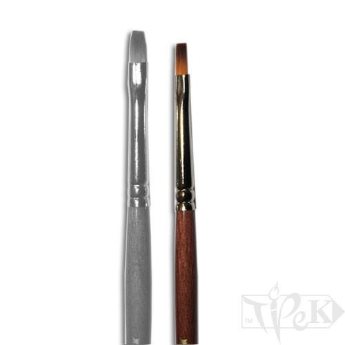 Кисточка «Живопись» 1122 Синтетика плоская № 0 короткая ручка рыжий ворс