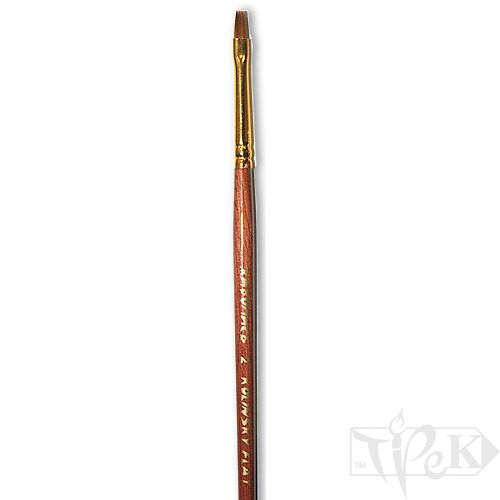 Пензлик «Живопис» 3122 Колонок плоска № 02 коротка ручка рудий ворс