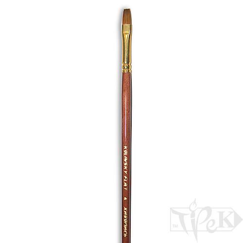 Кисточка «Живопись» 3112 Колонок плоская № 06 длинная ручка рыжий ворс