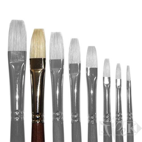 Кисточка «Живопись» 2112 Щетина плоская № 14 длинная ручка белый ворс