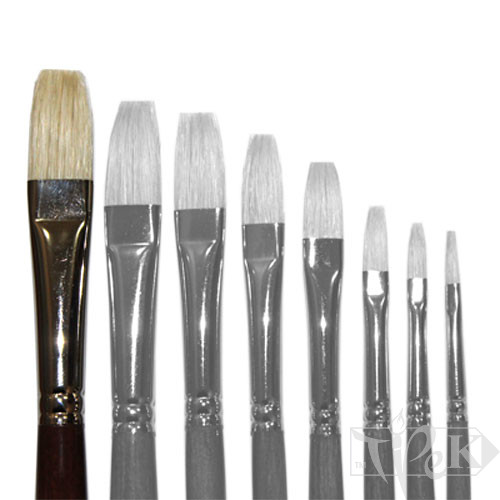 Кисточка «Живопись» 2112 Щетина плоская № 16 длинная ручка белый ворс