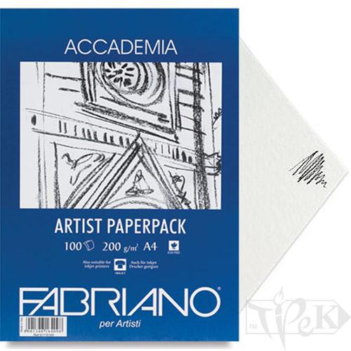 50814200 Папір для сухих і вологих технік Accademia А4 (21х29,7 см) 200 г/м.кв. 100 аркушів в упаковці Fabriano Італія