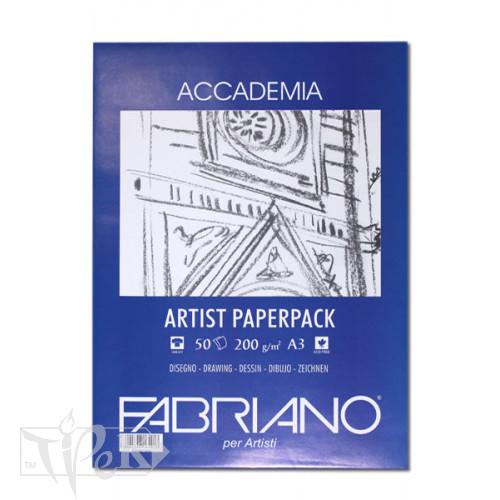 50813200 Папір для сухих і вологих технік Accademia А3 (29,7х42 см) 200 г/м.кв. 50 аркушів в упаковці Fabriano Італія