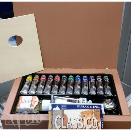 Набор масляных красок Classico 060 12 цветов по 20 мл картонная коробка Maimeri Италия