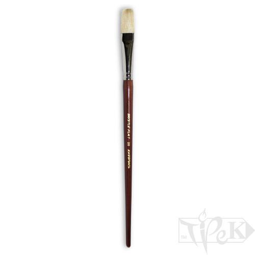 Пензлик «Живопис» 2112 Щетина плоска № 20 довга ручка білий ворс