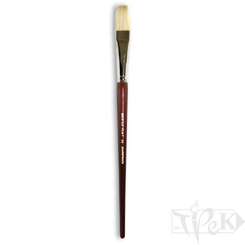 Пензлик «Живопис» 2112 Щетина плоска № 24 довга ручка білий ворс