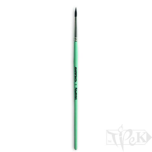 Кисточка «Живопись» 4121 Белка круглая № 01 короткая ручка черный ворс