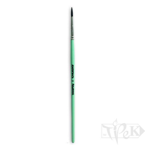 Кисточка «Живопись» 4121 Белка круглая № 02 короткая ручка черный ворс