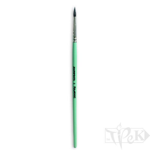 Кисточка «Живопись» 4121 Белка круглая № 03 короткая ручка черный ворс