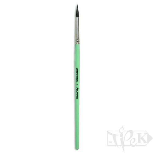 Кисточка «Живопись» 4121 Белка круглая № 04 короткая ручка черный ворс