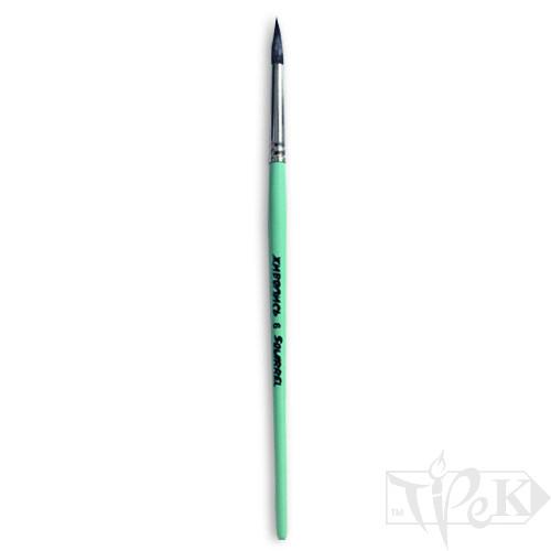 Пензлик «Живопис» 4121 Білка кругла № 06 коротка ручка чорний ворс