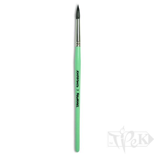 Пензлик «Живопис» 4121 Білка кругла № 07 коротка ручка чорний ворс