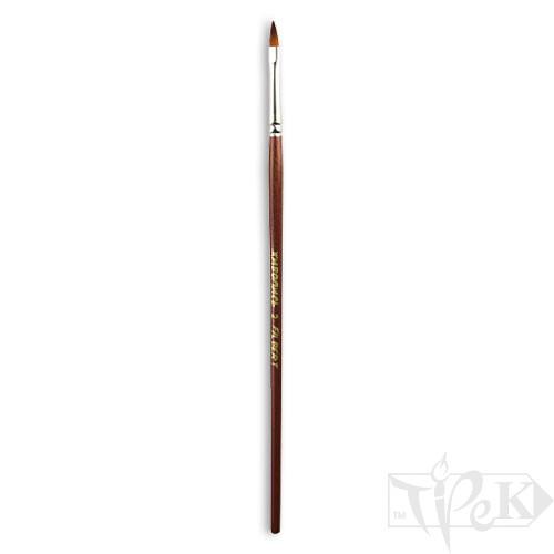 Кисточка «Живопись» 1124 Синтетика овальная № 02 короткая ручка рыжий ворс
