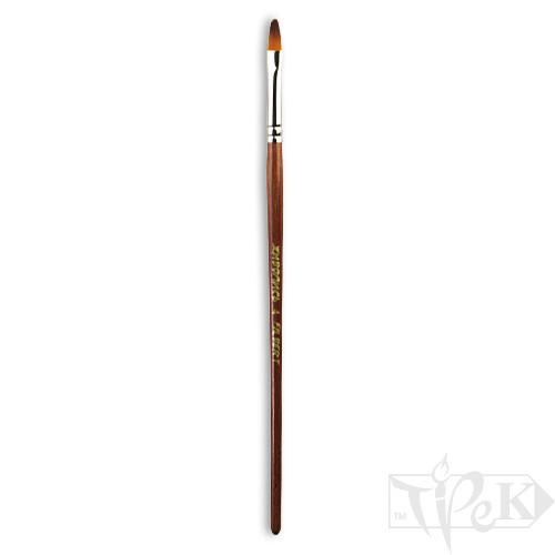 Пензлик «Живопис» 1124 Синтетика овальна № 04 коротка ручка рудий ворс