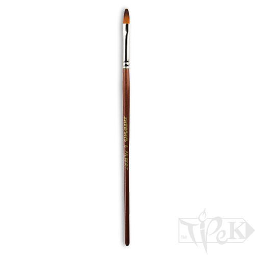 Кисточка «Живопись» 1124 Синтетика овальная № 06 короткая ручка рыжий ворс