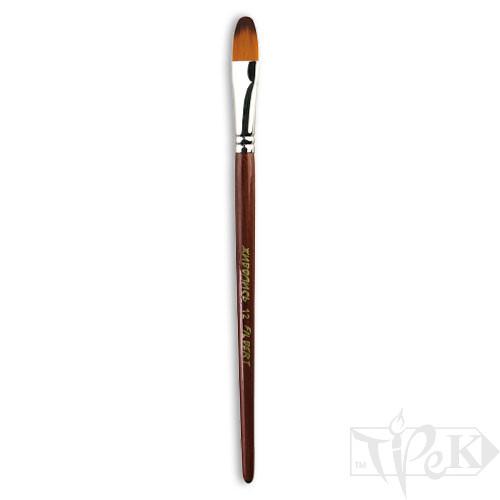 Кисточка «Живопись» 1124 Синтетика овальная № 12 короткая ручка рыжий ворс