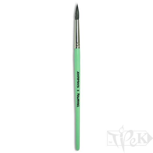 Кисточка «Живопись» 4121 Белка круглая № 10 короткая ручка черный ворс