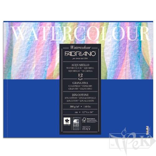 17311824 Альбом для акварелі Watercolour 18х24 см 300 г/м.кв. 12 аркушів склейка Fabriano Італія