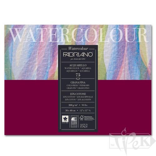 17523040 Альбом для акварели Watercolour 30х40 см 200 г/м.кв. 75 листов склейка Fabriano Италия