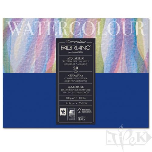73611824 Альбом для акварелі Watercolour 18х24 см 300 г/м.кв. 20 аркушів склейка з 4 сторін Fabriano Італія