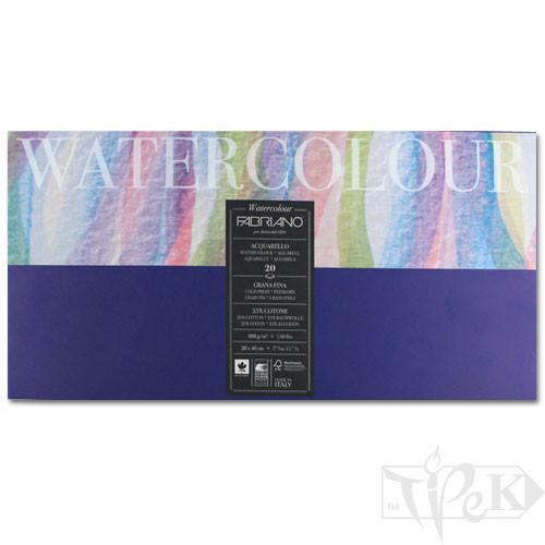 73612040 Альбом для акварели Watercolour 20х40 см 300 г/м.кв. 20 листов склейка с 4 сторон Fabriano Италия