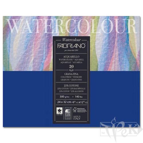73612432 Альбом для акварелі Watercolour 24х32 см 300 г/м.кв. 20 аркушів склейка з 4 сторін Fabriano Італія