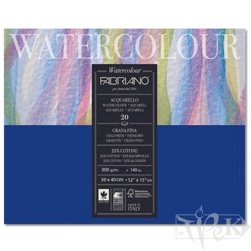 73613040 Альбом для акварели Watercolour 30х40 см 300 г/м.кв. 20 листов склейка с 4 сторон Fabriano Италия